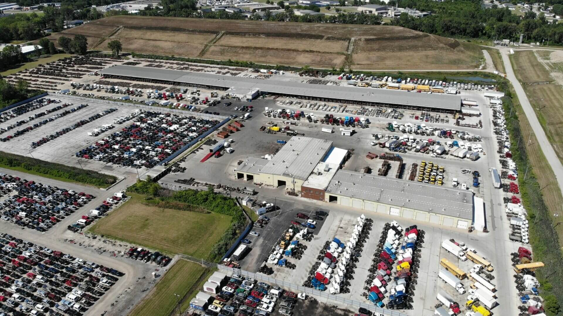 aerial shot of lkq heavy truck parts yard in toledo ohio